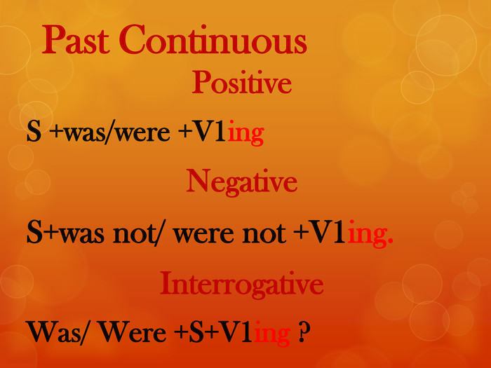 Past Continuous Positive S +was/were +V1ing. Negative. S+was not/ were not +V1ing. Interrogative Was/ Were +S+V1ing ?