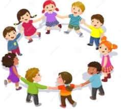 Happy Kids Holding Hands In A Circle. Cute Boys And Girls Having ...