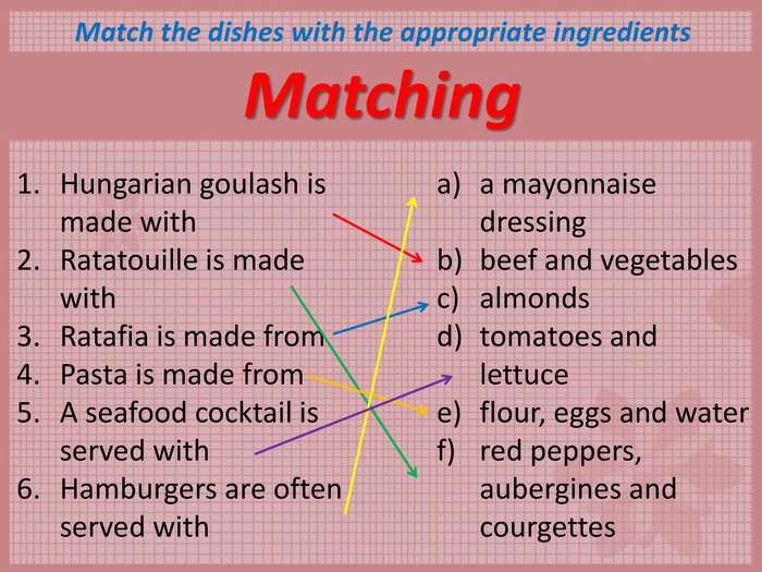 Matching Match the dishes with the appropriate ingredients Hungarian goulash is made with       