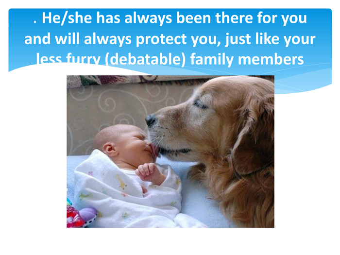 . He/she has always been there for you and will always protect you, just like your less furry (debatable) family members