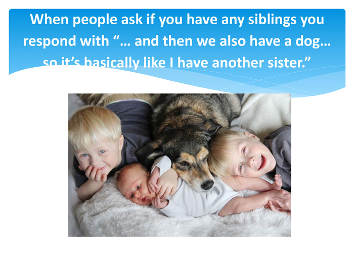 "When people ask if you have any siblings you respond with ""… and then we also have a dog… so it's basically like I have another sister."""