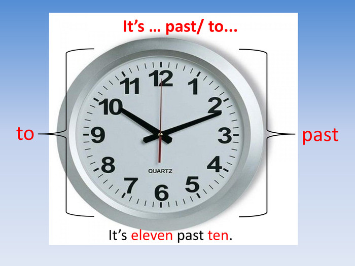 It's … past/ to...pastto. It's eleven past ten.