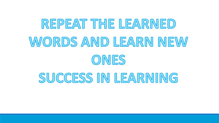REPEAT THE LEARNED WORDS AND LEARN NEW ONES SUCCESS IN LEARNING