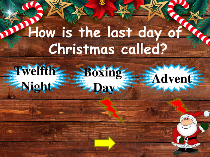 How is the last day of Christmas called?Twelfth Night. Advent. Boxing Daystyle.opacitystyle.colorfillcolorfill.typefill.onstyle.opacitystyle.colorfillcolorfill.typefill.on