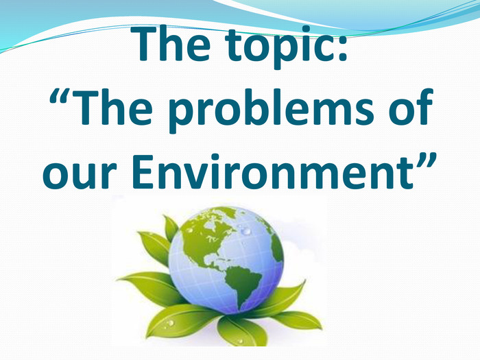 "The topic:""The problems of our Environment"""
