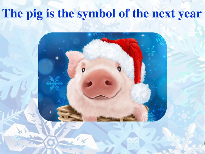 The pig is the symbol of the next year