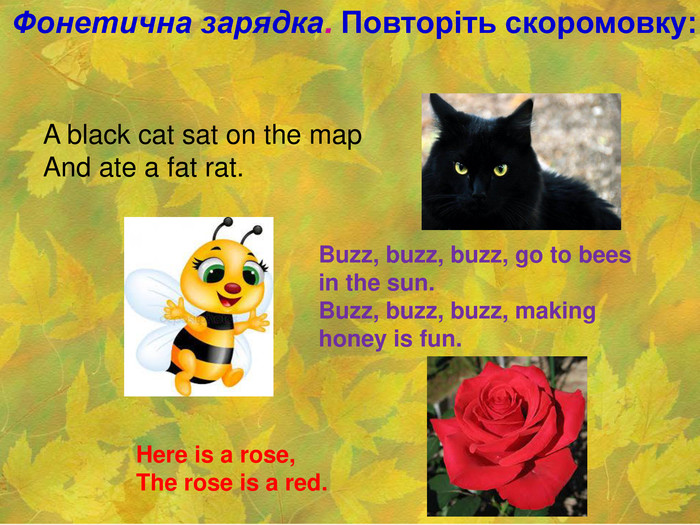Фонетична зарядка. Повторіть скоромовку:  A black cat sat on the map