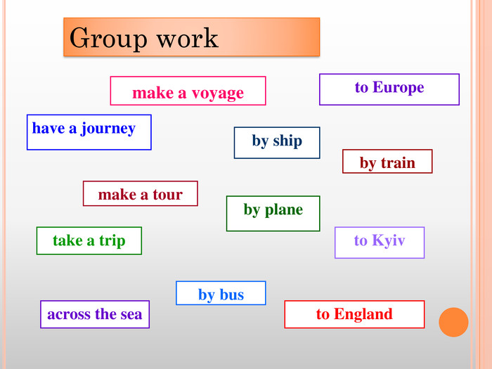 make a voyagetake a triphave a journeyto Europemake a tourby shipby trainby planeby busacross the seato Kyivto England. Group work