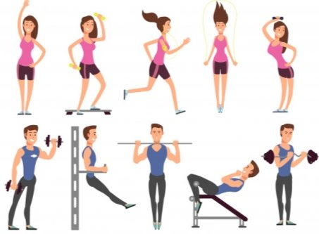 Premium Vector | Fitness people vector cartoon characters set. women and  men athletes make exercises with sports equipment