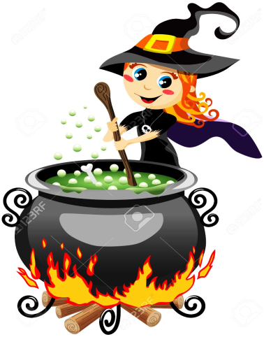 Cute Halloween Witch Preparing Potion In The Calderon Isolated Royalty Free  Cliparts, Vectors, And Stock Illustration. Image 45873305.
