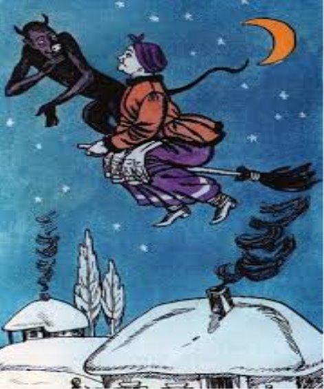 правой картинка из рассказа ночь перед рождеством как черт украл месяц по-моему, уместнее