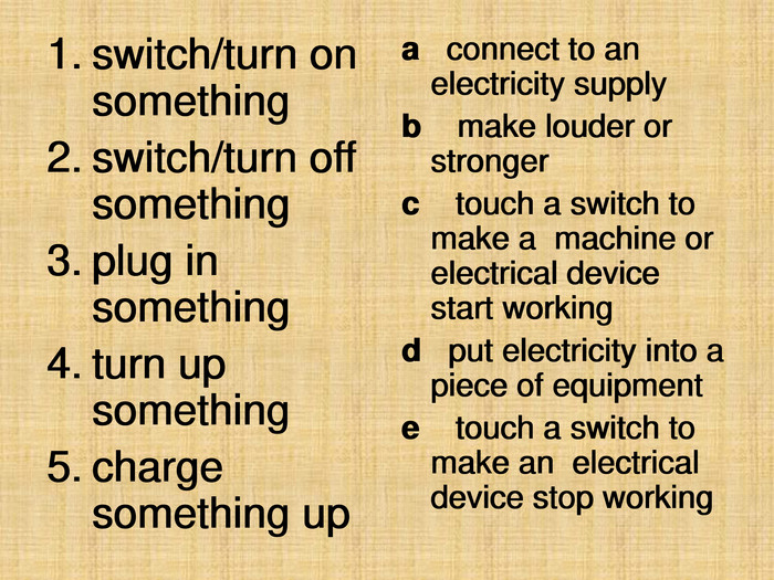 switch/turn on something 