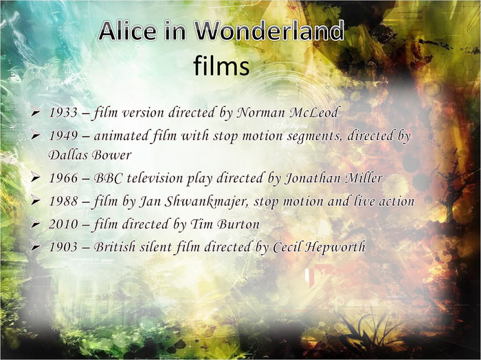 Alice in Wonderlandfilms1933 – film version directed by Norman Mc. Leod1949 – animated film with stop motion segments, directed by Dallas Bower 1966 – BBC television play directed by Jonathan Miller1988 – film by Jan Shwankmajer, stop motion and live action 2010 – film directed by Tim Burton1903 – British silent film directed by Cecil Hepworth