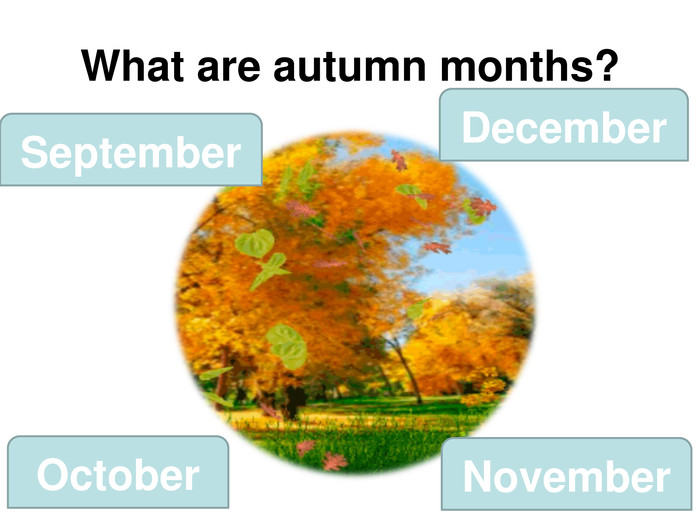 What are autumn months? September December October November