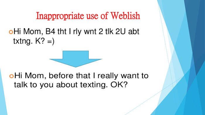 Inappropriate use of Weblish