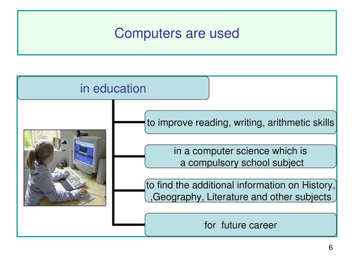 * Computers are used in education to improve reading, writing, arithmetic skills for  future career to find the additional information on History,