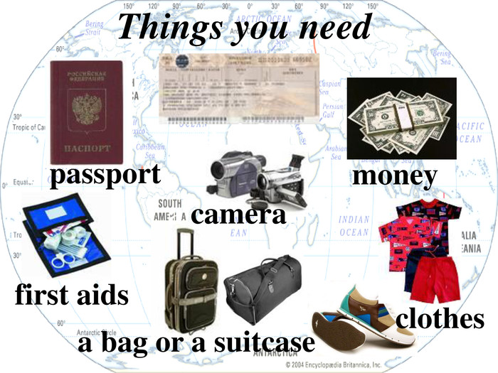 a ticket a passport a bag or a suitcase first aids clothes money a camera Things you need