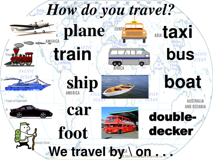 foot ship plane How do you travel? car We travel by \ on . . .  train taxi   bus boat double-decker