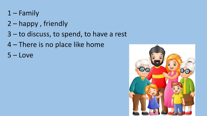 1 – Family2 – happy , friendly3 – to discuss, to spend, to have a rest4 – There is no place like home5 – Love