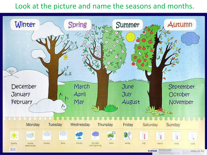 Look at the picture and name the seasons and months.
