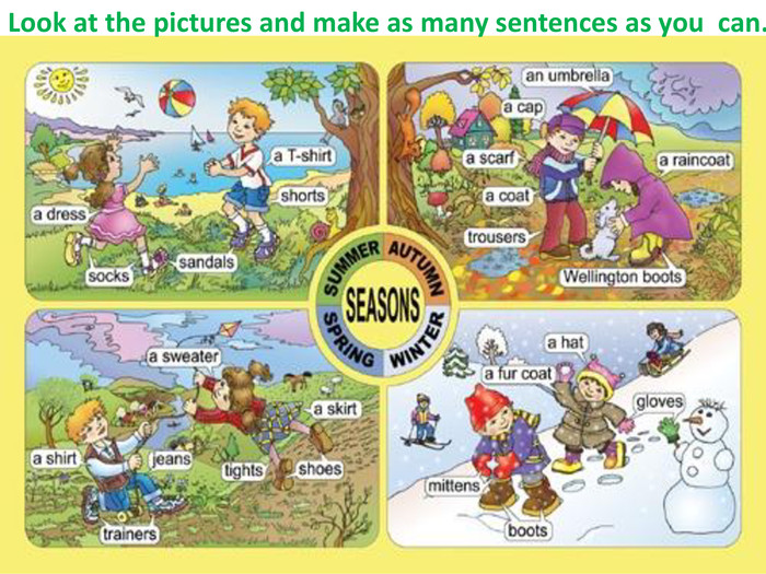 Look at the pictures and make as many sentences as you can.