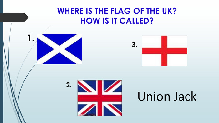 WHERE IS THE FLAG OF THE UK? HOW IS IT CALLED?1.3.2. Union Jack