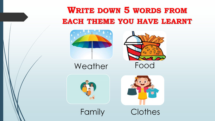 Write down 5 words from each theme you have learnt
