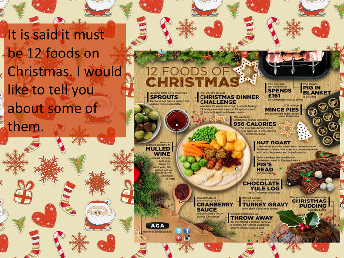It is said it must be 12 foods on Christmas. I would like to tell you about some of them.