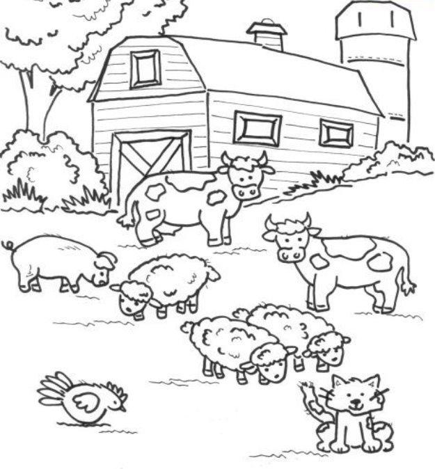 Картинки животных на ферме для раскраски