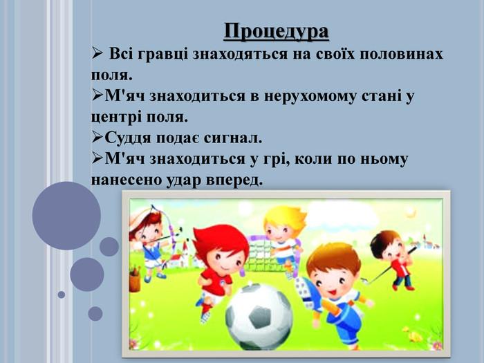 Текст и рисунки. Процедура Всі гравці знаходяться на своїх половинах поля. М'яч знаходиться в нерухомому стані у центрі поля. Суддя подає сигнал. М'яч знаходиться у грі, коли по ньому нанесено удар вперед.