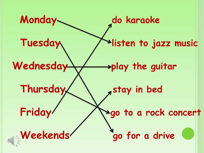 Monday do karaoke Tuesday listen to jazz music Wednesday play the guitar Thursday stay in bed Friday go to a rock concert Weekends go for a drive