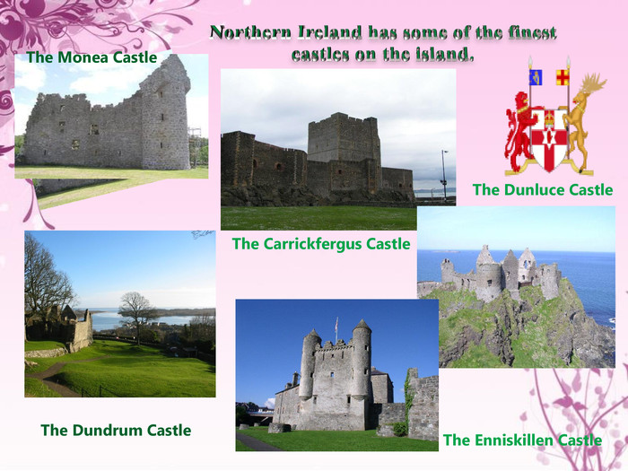 Northern Ireland has some of the finest castles on the island. The Monea Castle. The Dundrum Castle. The Carrickfergus Castle. The Dunluce Castle The Enniskillen Castle
