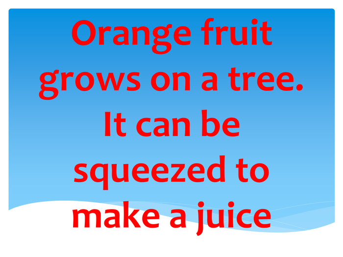 Orange fruit grows on a tree. It can be squeezed to make a juice