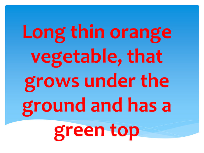 Long thin orange vegetable, that grows under the ground and has a green top