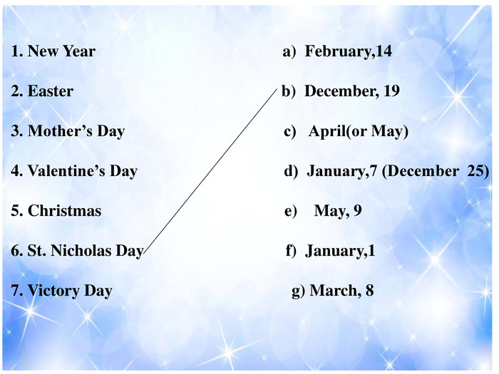 1. New Year a) February,14 2. Easter b) December, 19 3. Mother's Day c) April(or May) 4. Valentine's Day d) January,7 (December 25) 5. Christmas e) May, 9 6. St. Nicholas Day f) January,17. Victory Day g) March, 8
