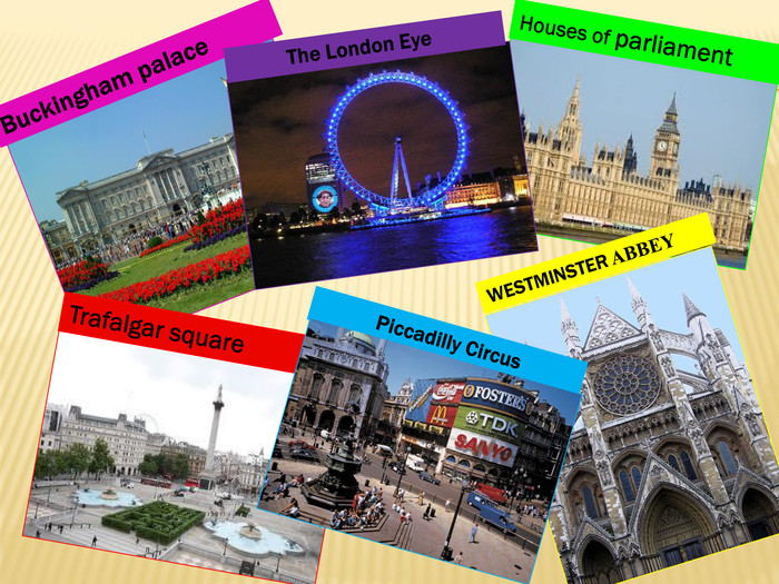Houses of parliament. Buckingham palace. Trafalgar square. WESTMINSTER ABBEY The London Eye Piccadilly Circus