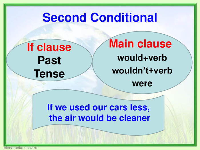 Second Conditional   Main clause would+verb wouldn't+verb were    If clause