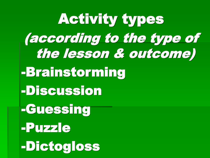Activity types