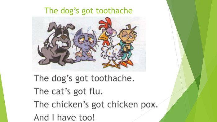 The dog's got toothache. The dog's got toothache. The cat's got flu. The chicken's got chicken pox. And I have too!