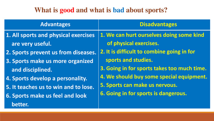 What is good and what is bad about sports?{5 C22544 A-7 EE6-4342-B048-85 BDC9 FD1 C3 A}Advantages. Disadvantages1. All sports and physical exercises are very useful.2. Sports prevent us from diseases.3. Sports make us more organized and disciplined.4. Sports develop a personality.5. It teaches us to win and to lose.6. Sports make us feel and look better.1. We can hurt ourselves doing some kind of physical exercises.2. It is difficult to combine going in for sports and studies.3. Going in for sports takes too much time.4. We should buy some special equipment.5. Sports can make us nervous.6. Going in for sports is dangerous.