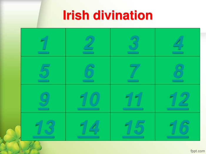 Irish divination 1 2 3 4 5 6 7 8 9 10 11 12 13 14 15 16