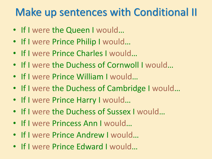 Make up sentences with Conditional IIIf I were the Queen I would…If I were Prince Philip I would…If I were Prince Charles I would…If I were the Duchess of Cornwoll I would…If I were Prince William I would…If I were the Duchess of Cambridge I would…If I were Prince Harry I would…If I were the Duchess of Sussex I would…If I were Princess Ann I would…If I were Prince Andrew I would…If I were Prince Edward I would…