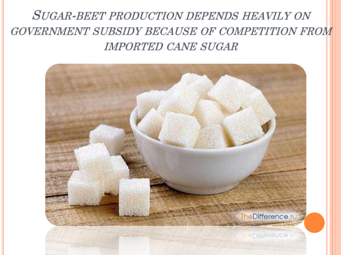 Sugar-beet production depends heavily on government subsidy because of competition from imported cane sugarstyle.text. Decoration. Underlinerrrrr