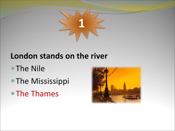 London stands on the river 