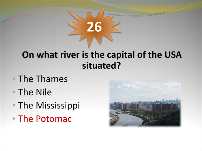 On what river is the capital of the USA situated?