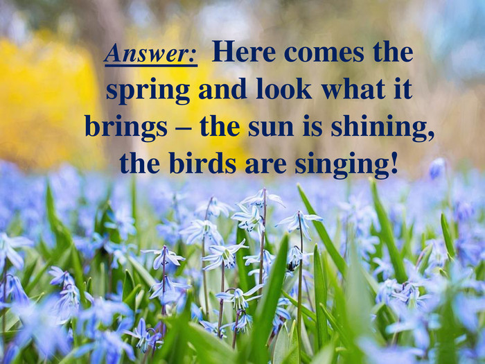 Answer: Here comes the spring and look what it brings – the sun is shining, the birds are singing!