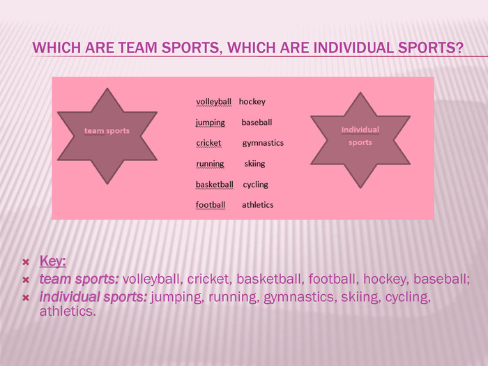 Which are team sports, which are individual sports? Key: team sports: volleyball, cricket, basketball, football, hockey, baseball;individual sports: jumping, running, gymnastics, skiing, cycling, athletics.