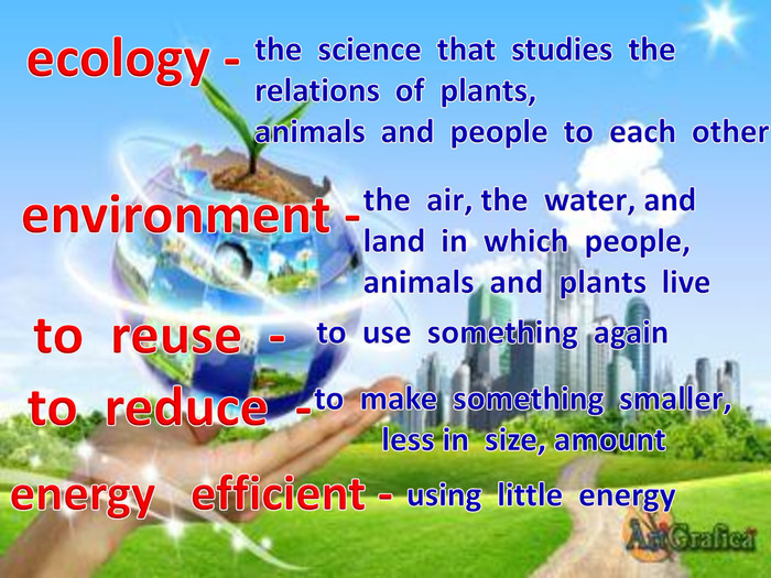 ecology -environment -to reuse -to reduce -the science that studies the relations of plants'animals and people to each other the air' the water' and land in which people' animals and plants liveto use something againto make something smaller' less in size, amountenergy efficient - using little energy