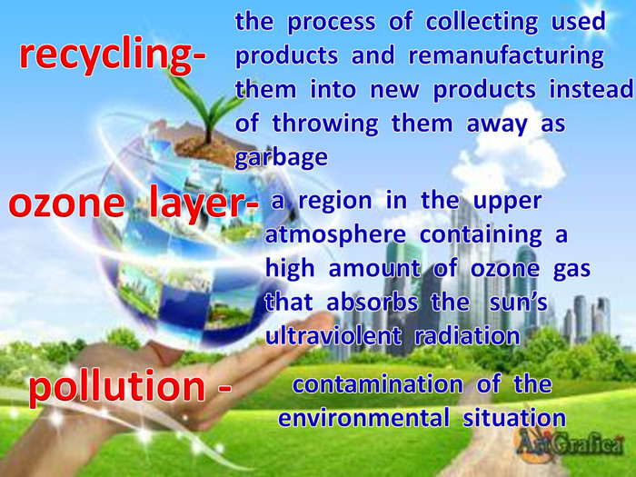 ozone layer-pollution -recycling-the process of collecting used products and remanufacturing them into new products instead of throwing them away as garbage a region in the upper atmosphere containing a high amount of ozone gas that absorbs the sun's ultraviolent radiationcontamination of the environmental situation