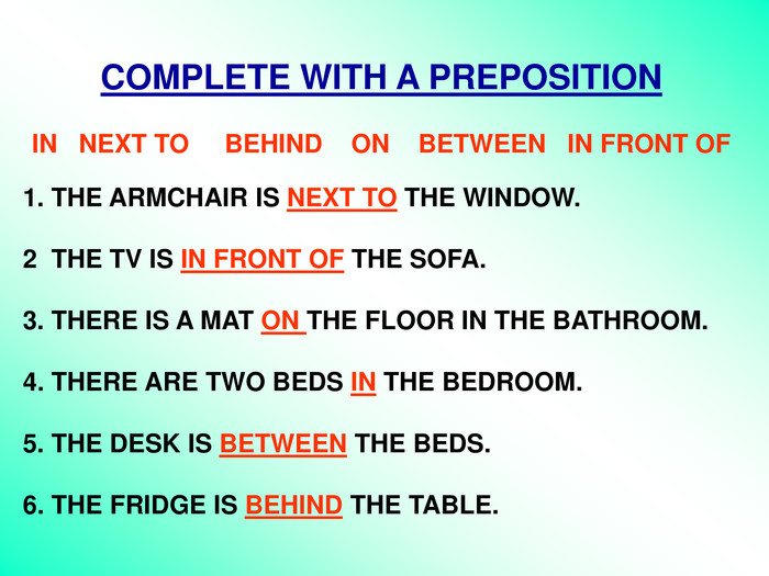 COMPLETE WITH A PREPOSITION  